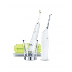 Airfloss Ultra Silver + Diamond Clean White - зъбен душ и звукочестотатна четка за зъби - HX 8491/01